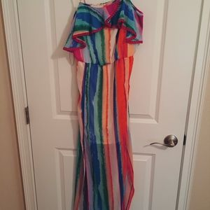 Candie's Watercolor Ruffle Maxi Dress